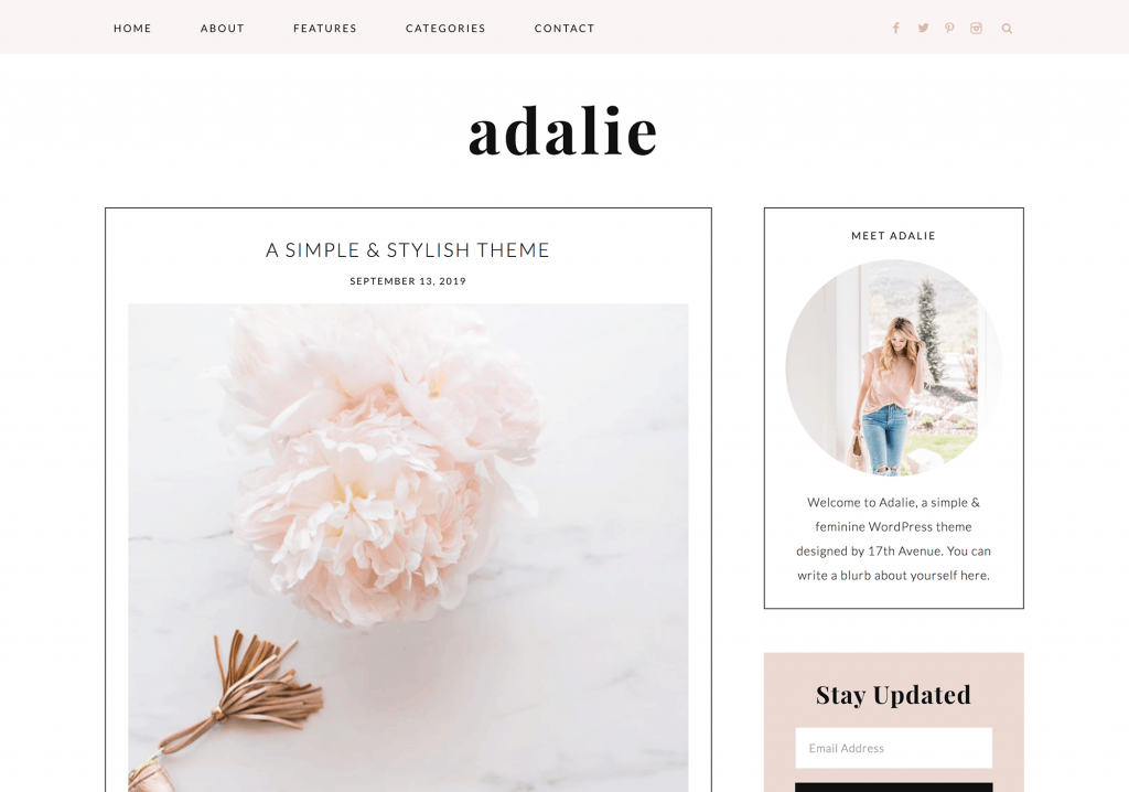 This is one of many feminine WordPress themes by 17th Avenue Designs. This one is called Adalie.