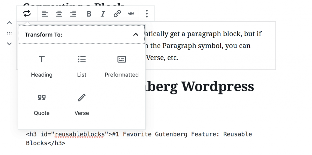 Learn how to convert a block in this WordPress Gutenberg tutorial