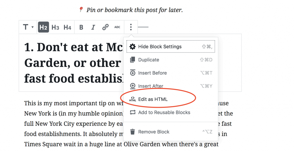 This is how you edit HTML on WordPress Gutenberg by clicking edit HTML in one block.