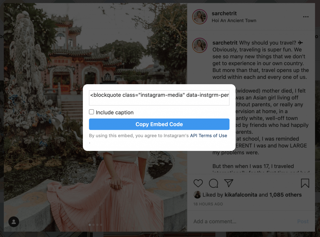 here's how to embed a photo from instagram to your website