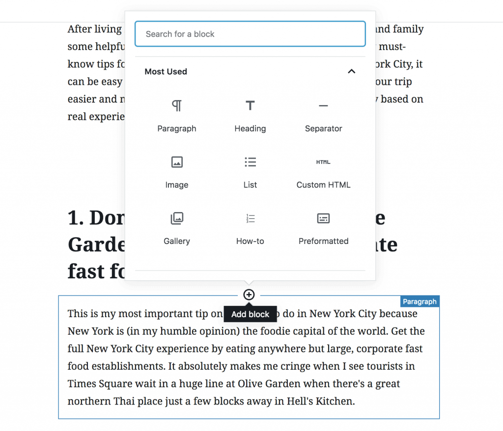This is how you add a block on WordPress' Gutenberg editor.