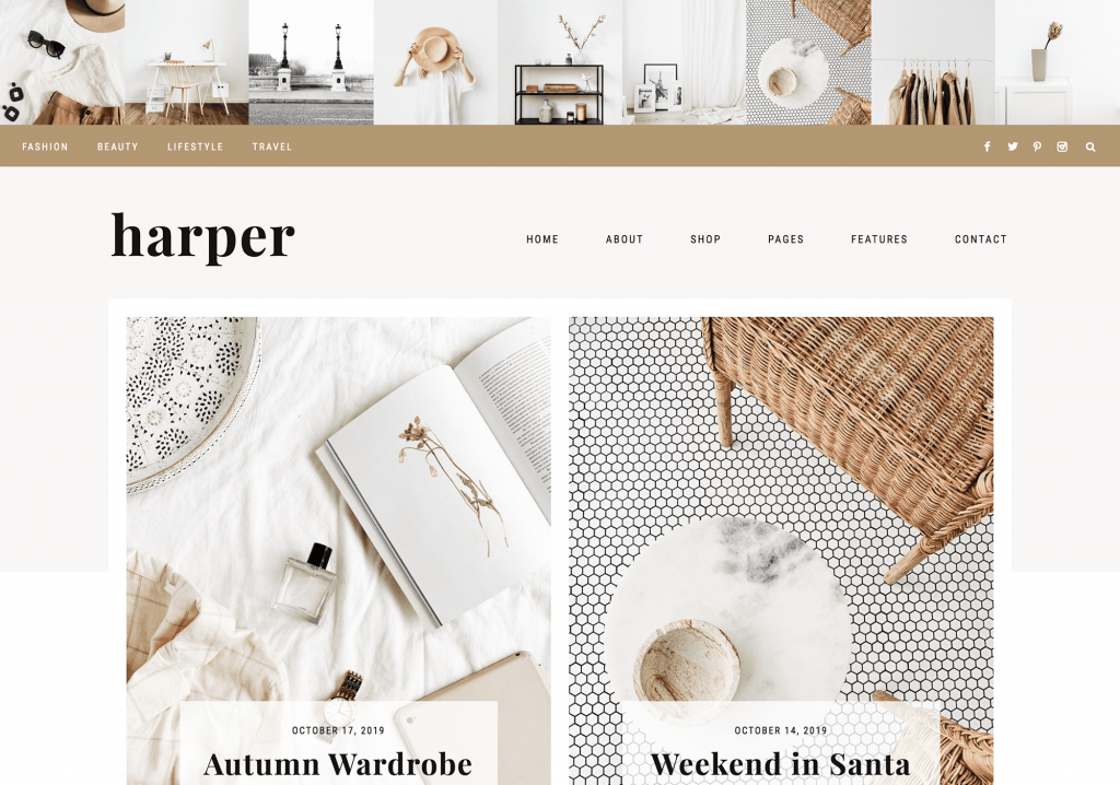 This is one of many feminine WordPress themes by 17th Avenue Designs. This one is called Harper.