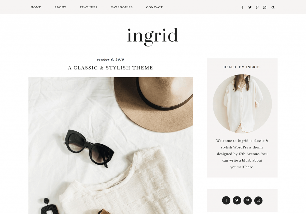 This is one of many feminine WordPress themes by 17th Avenue Designs. This one is called Ingrid.