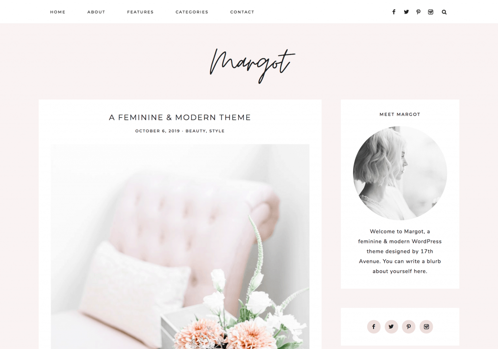 This is one of many feminine WordPress themes by 17th Avenue Designs. This one is called Margot.