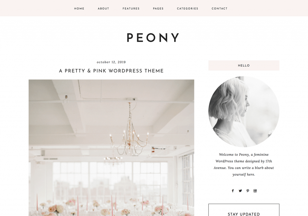 This is one of many feminine WordPress themes by 17th Avenue Designs. This one is called Peony.