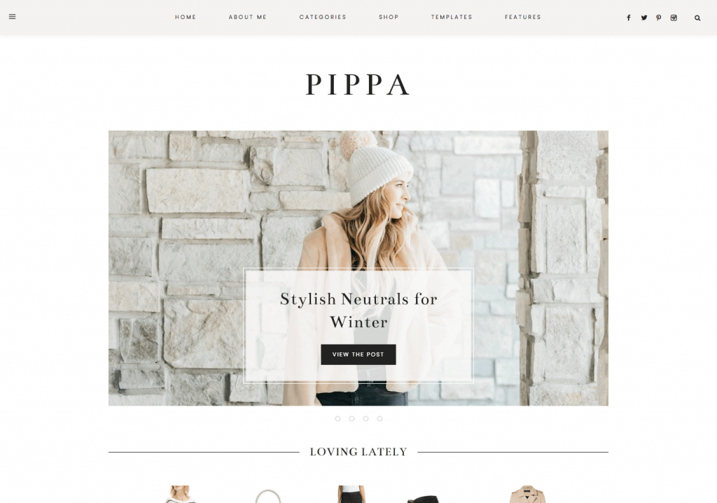 This is one of many feminine WordPress themes by 17th Avenue Designs. This one is called Pippa.