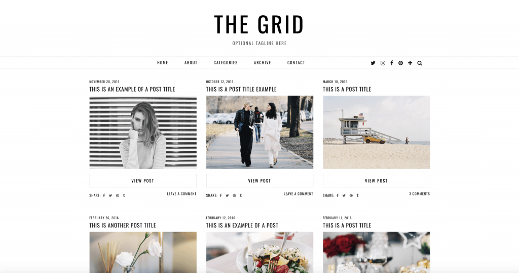 This is one of many feminine WordPress themes by Pipdig. This one is called The Grid.