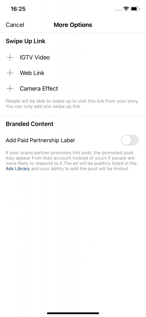 screenshot showing how to share links on instagram. this one is showing how to add links in instagram story